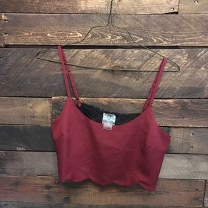 Wine red scalloped lace back free people crop top